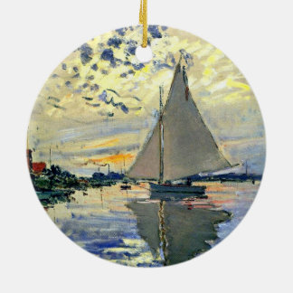 Monet - Sailboat at Le Petit-Gennevilliers Double-Sided Ceramic Round Christmas Ornament