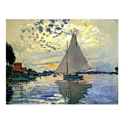 Monet - Sailboat at Le Petit-Gennevilliers Post Card