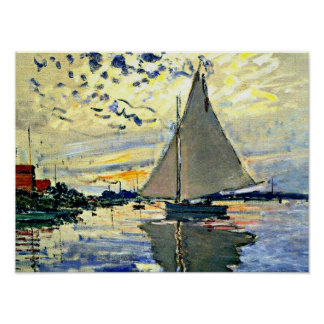 Monet - Sailboat at le Petit Gennevilliers Poster