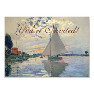 Monet Sailboat French Impressionist Personalized Announcement