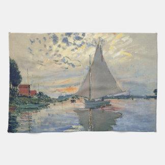 Monet Sailboat French Impressionist Hand Towel