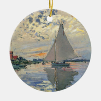 Monet Sailboat French Impressionist Double-Sided Ceramic Round Christmas Ornament