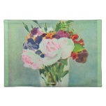 Monet Seafoam Green Pink Flowers Placemat Cloth Placemat