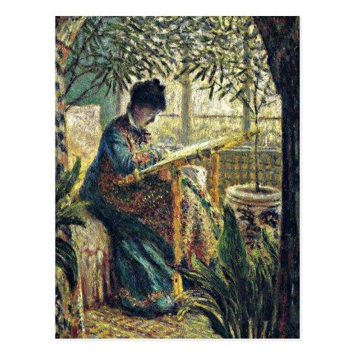 Monet - señora Monet Embroidering Tarjetas Postales