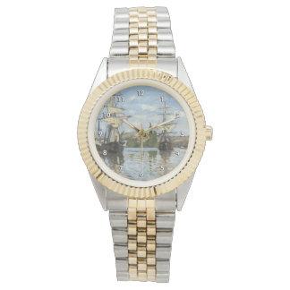Monet Ships Riding on the Seine Fine Art Wristwatch