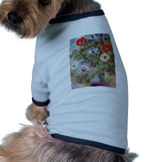 Monet Still Life Anemones flower Painting Dog T Shirt