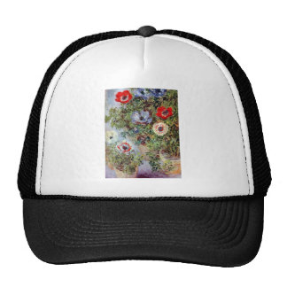 Monet Still Life Anemones flower Painting Trucker Hat
