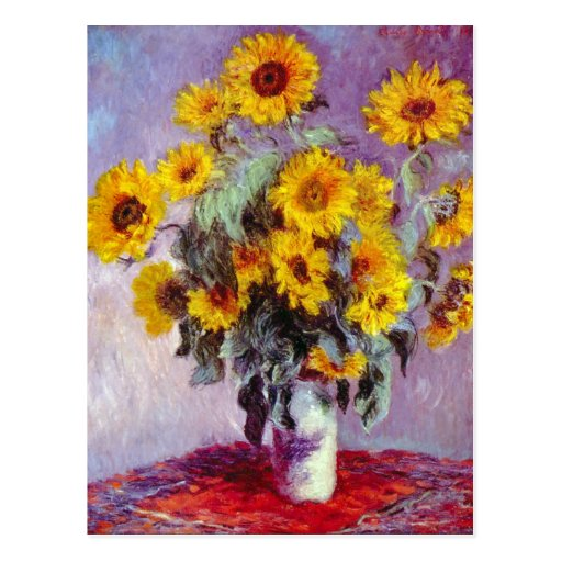 Monet Sunflowers Post Card