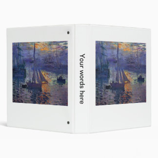 Monet sunrise at sea sailboat painting boating art 3 ring binder