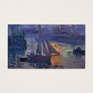 Monet sunrise at sea sailboat painting boating art business card