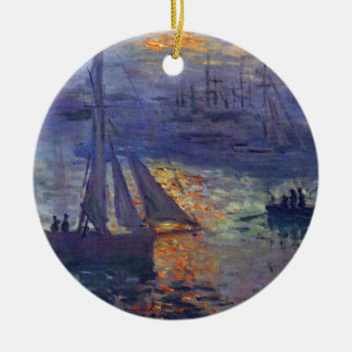 Monet sunrise at sea sailboat painting boating art ceramic ornament