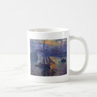 Monet sunrise at sea sailboat painting boating art classic white coffee mug