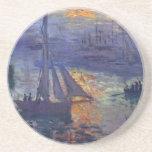 Monet sunrise at sea sailboat painting boating art beverage coasters
