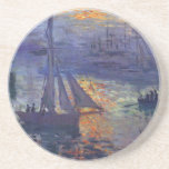 Monet sunrise at sea sailboat painting boating art drink coaster