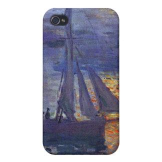 Monet sunrise at sea sailboat painting boating art iPhone 4 cases
