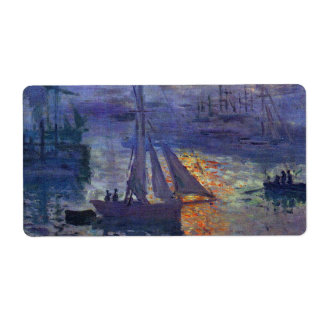 Monet sunrise at sea sailboat painting boating art label