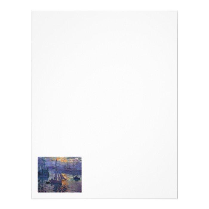 Monet sunrise at sea sailboat painting boating art letterhead