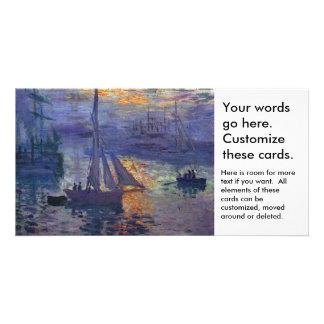 Monet sunrise at sea sailboat painting boating art photo card