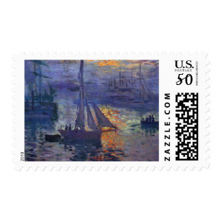 Monet sunrise at sea sailboat painting boating art postage