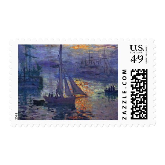 Monet sunrise at sea sailboat painting boating art postage