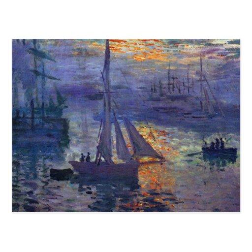 Monet sunrise at sea sailboat painting boating art postcard
