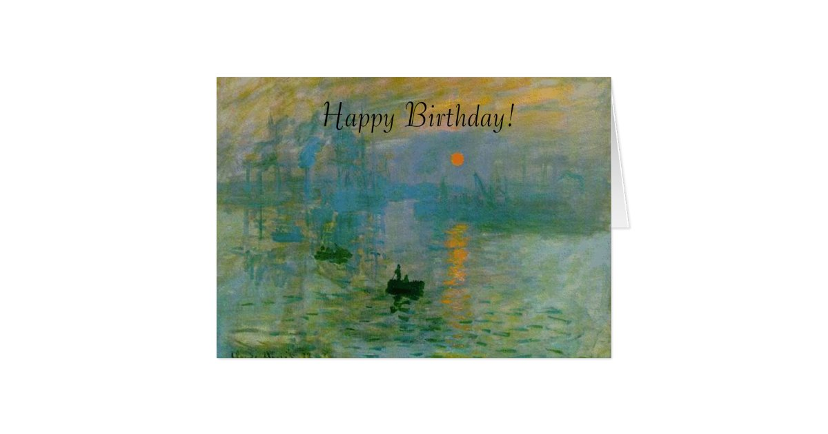 monet sunrise painting happy birthday card