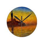 Monet Sunset in Venice Impressionist Painting Round Wallclocks