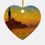 Monet Sunset in Venice Impressionist Painting Double-Sided Heart Ceramic Christmas Ornament