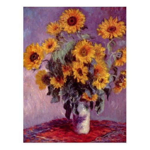 Monet, tecnología 1881 del mit Sonnenblumen de Cla Tarjeta Postal