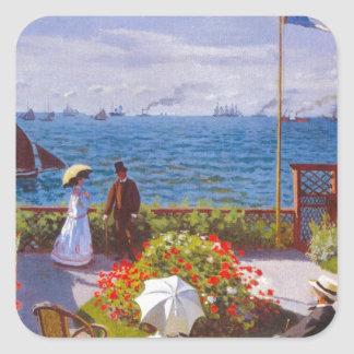 Monet the Garden at St Addresse French Painting Square Sticker