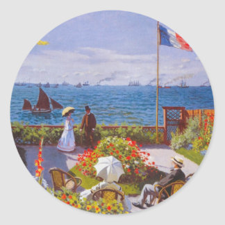 Monet the Garden at St Addresse French Painting Classic Round Sticker