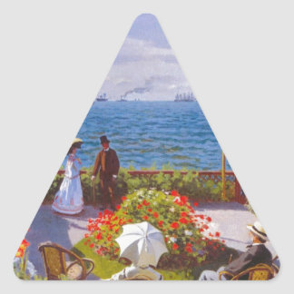 Monet the Garden at St Addresse French Painting Triangle Sticker