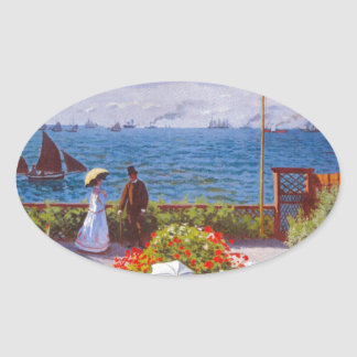 Monet the Garden at St Addresse French Painting Oval Sticker
