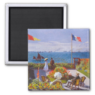 Monet The Garden At St. Addresse Painting 2 Inch Square Magnet
