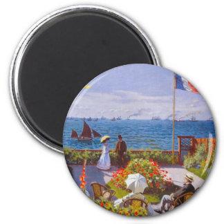 Monet The Garden At St. Addresse Painting 2 Inch Round Magnet