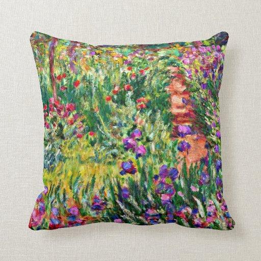 Monet - The Iris Garden at Giverny Throw Pillows