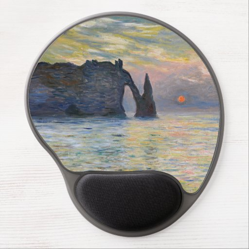 Monet - The Manneport, Cliff at Etretat, Sunset Gel Mouse Pad