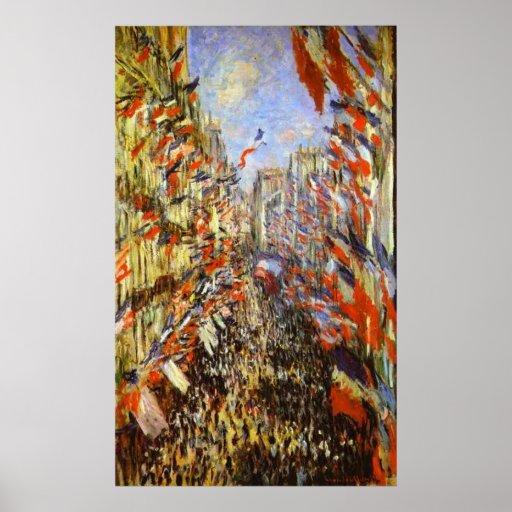 Monet, The Rue Montorgeuil, Paris, 30 June 1878 Poster