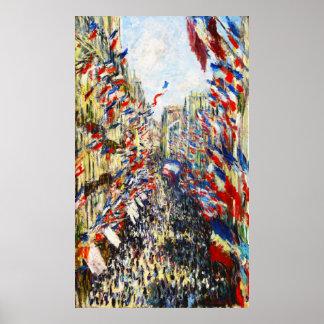 Monet - The Rue Montorgueil in Paris Posters