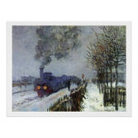Monet Train in Snow Poster