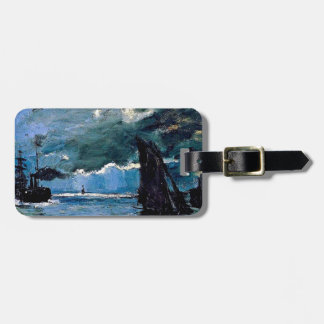 Monet un envío del paisaje marino etiqueta de maleta