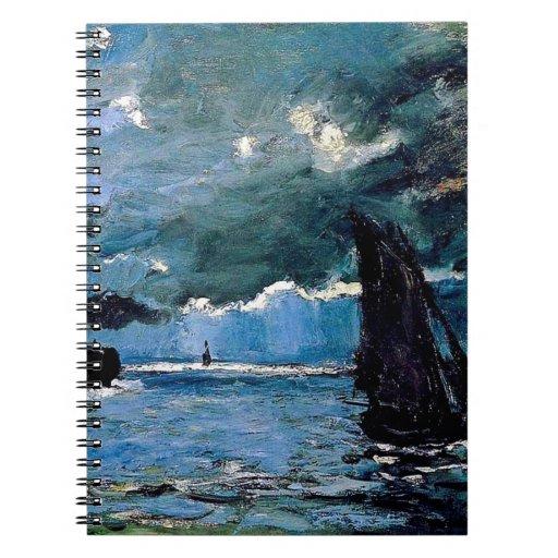 Monet un envío del paisaje marino libretas espirales