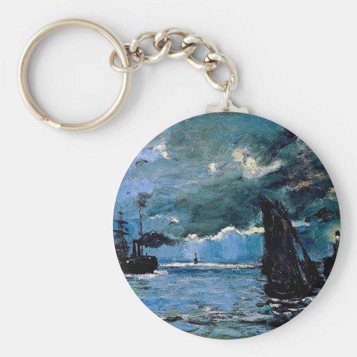 Monet un envío del paisaje marino llavero personalizado