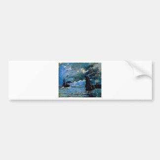 Monet un envío del paisaje marino pegatina para auto