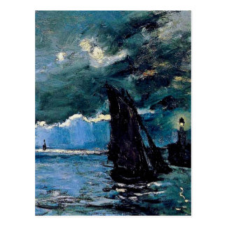 Monet un envío del paisaje marino tarjeta postal