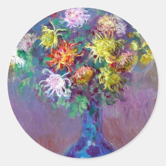 Monet Vase de Chrysanthemes Flowers Classic Round Sticker