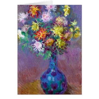 Monet Vase de Chrysanthemes Flowers Tarjeta De Felicitación