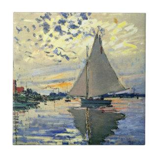 Monet - velero en Le Pequeno-Gennevilliers Azulejo Cuadrado Pequeño