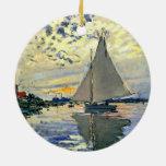 Monet - velero en Le Pequeno-Gennevilliers Adorno Redondo De Cerámica