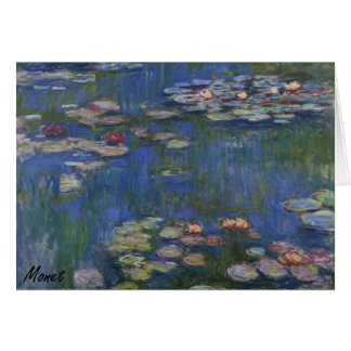 MONET Water Lilies 1916 blue tones Note Card